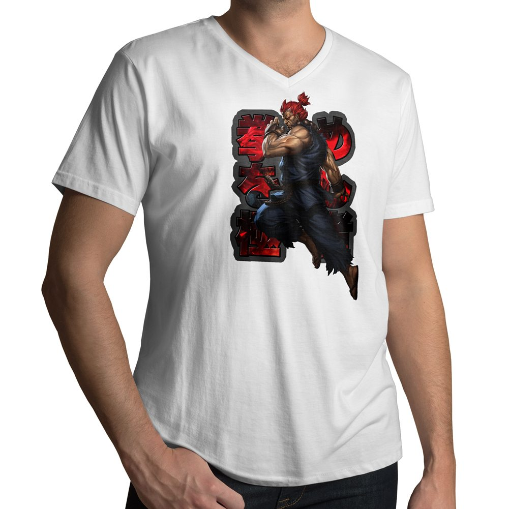 ryu amp ken akuma gouki street fighter mens unisex tee v neck t shirt. Black Bedroom Furniture Sets. Home Design Ideas