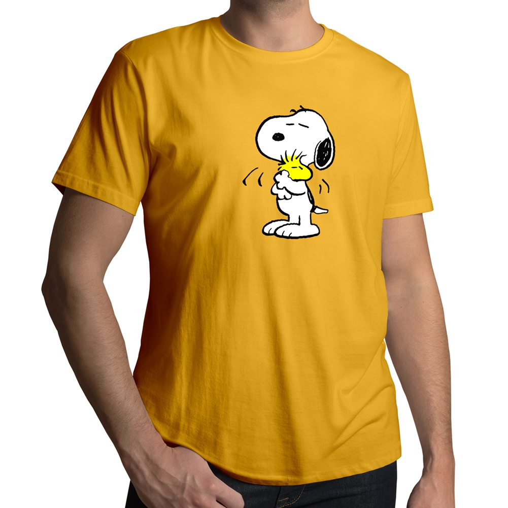 snoopy hugging woodstock friendship love mens unisex crew neck t shirt. Black Bedroom Furniture Sets. Home Design Ideas