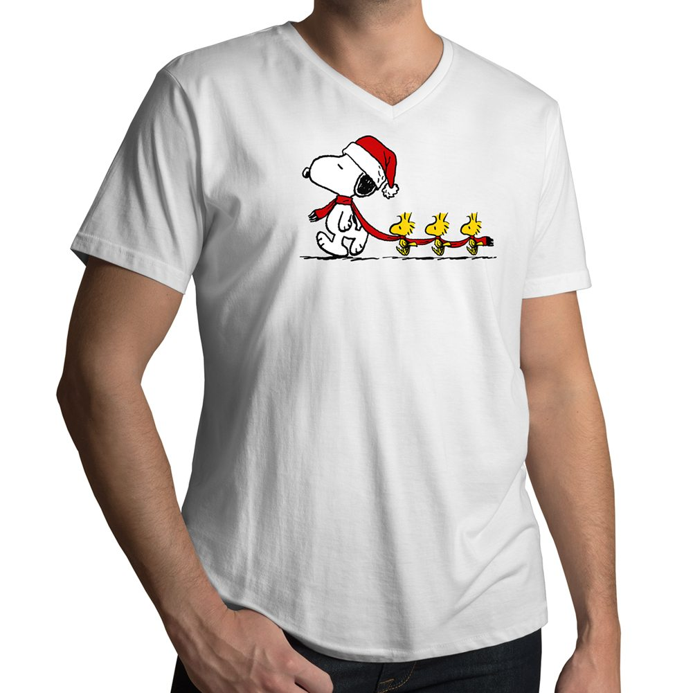 christmas snoopy leading woodstocks mens unisex v neck tee t shirt. Black Bedroom Furniture Sets. Home Design Ideas