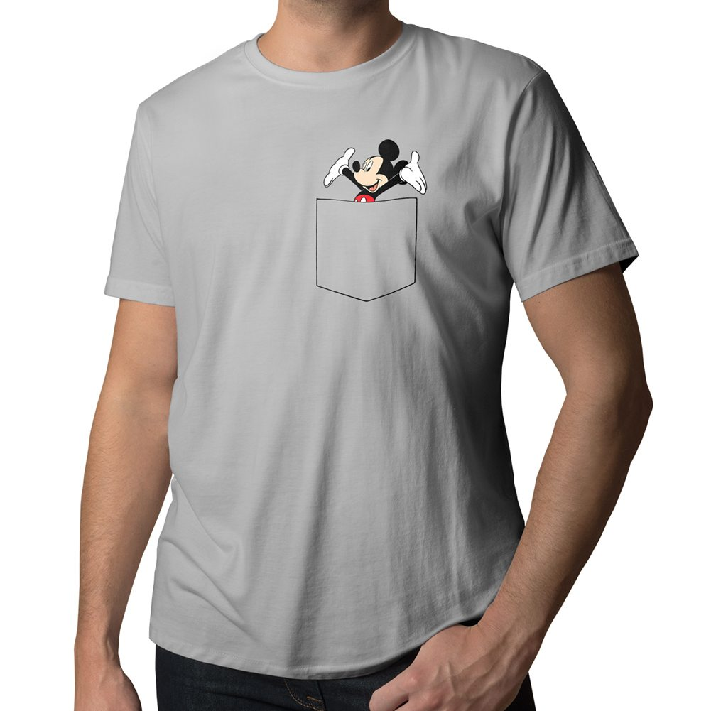 disney happy mickey mouse in pocket cute cool mens crew neck tee unisex t shirt ebay. Black Bedroom Furniture Sets. Home Design Ideas