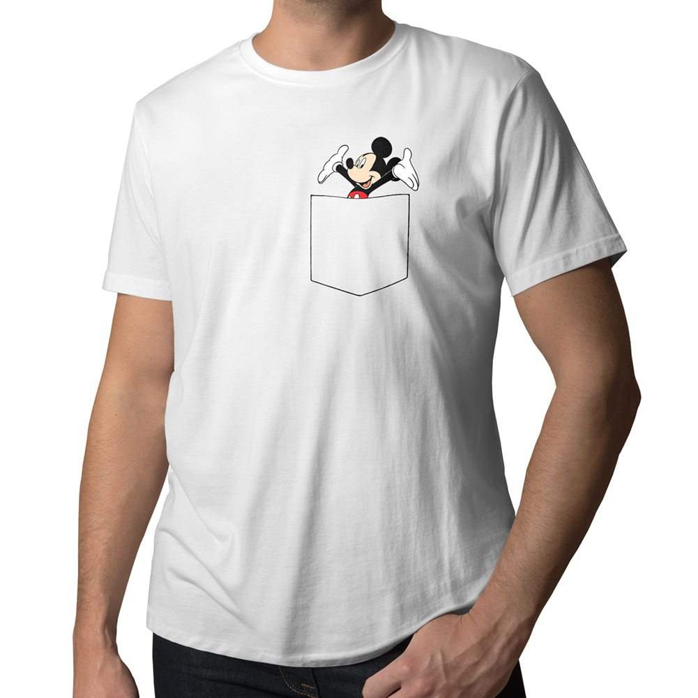 disney happy mickey mouse in pocket cute cool mens crew. Black Bedroom Furniture Sets. Home Design Ideas